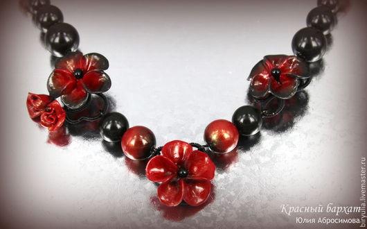 """Колье, бусы ручной работы. Ярмарка Мастеров - ручная работа. Купить Ожерелье """"Красный бархат"""". Handmade. Черный, страсть, эмоциональный"""
