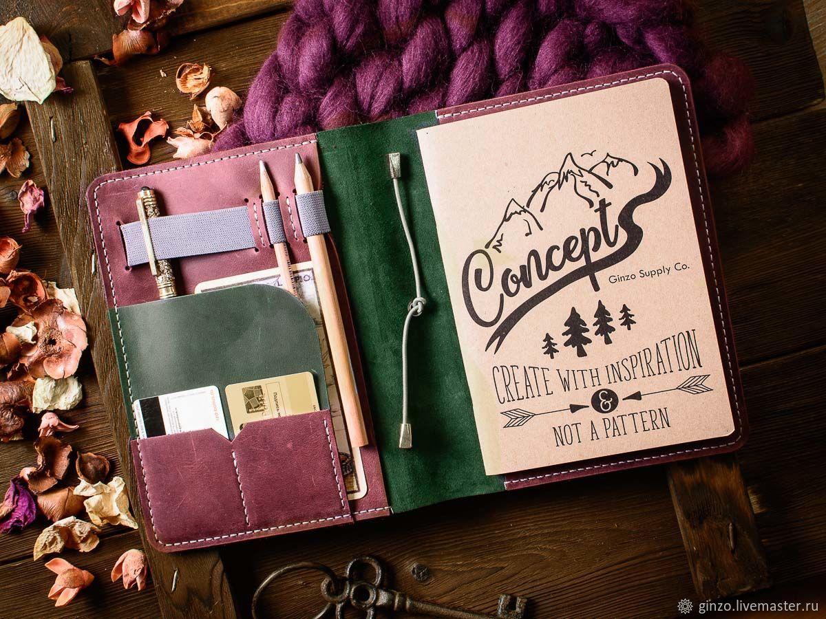 Кожаный блокнот А5 LEGACY обложка цвет Зеленый с Бордовыми вставками, Блокноты, Тула,  Фото №1