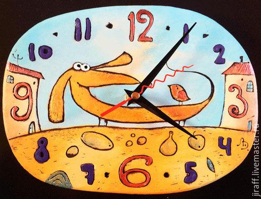 Часы для дома ручной работы. Ярмарка Мастеров - ручная работа. Купить Такса. Handmade. Разноцветный, такса, часы интерьерные