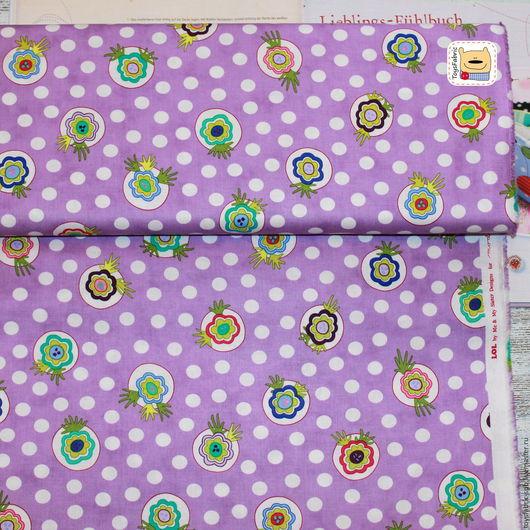 Шитье ручной работы. Ярмарка Мастеров - ручная работа. Купить Ткань для пэчворка Горох и цветы на сирен (20402) американский хлопок. Handmade.