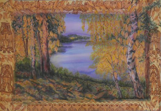 Пейзаж ручной работы. Ярмарка Мастеров - ручная работа. Купить Золотая осень в медном краю. Handmade. Оранжевый, осенний пейзаж