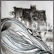 """Картины и панно ручной работы. Ярмарка Мастеров - ручная работа Графическая работа """"Машины стоящие на проезжей части и мешающие"""". Handmade."""