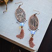Украшения manualidades. Livemaster - hecho a mano Pendientes Boho pendientes de Viento Oriental con borlas Piedra lunar azul. Handmade.