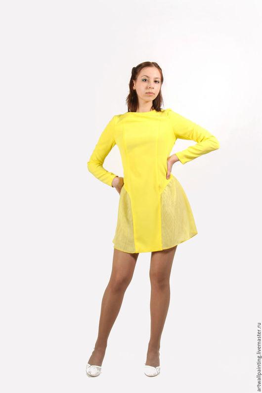 Платья ручной работы. Ярмарка Мастеров - ручная работа. Купить Платье. Handmade. Желтый, платье на заказ, Платье нарядное, синтет