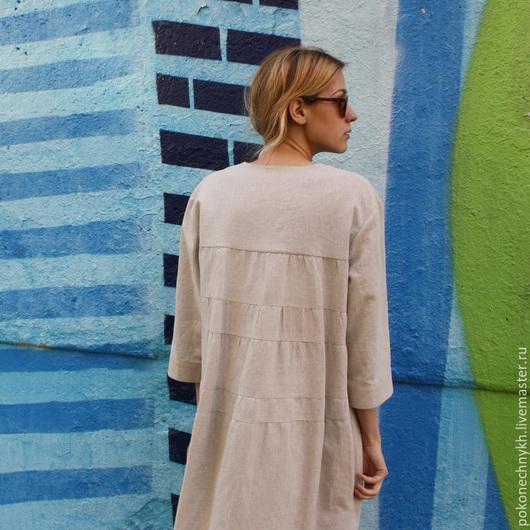 Платья ручной работы. Ярмарка Мастеров - ручная работа. Купить Платье из льна с фигурным низом - ПЕСКИ ВРЕМЕНИ. Handmade. Бежевый