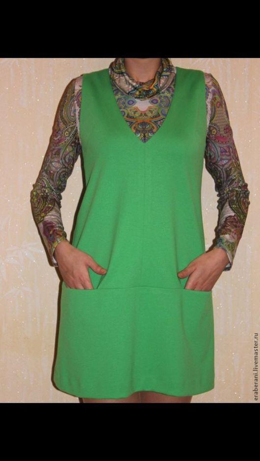 Платья ручной работы. Ярмарка Мастеров - ручная работа. Купить Платье - сарафан из джерси. Handmade. Зеленый, трикотажное полотно
