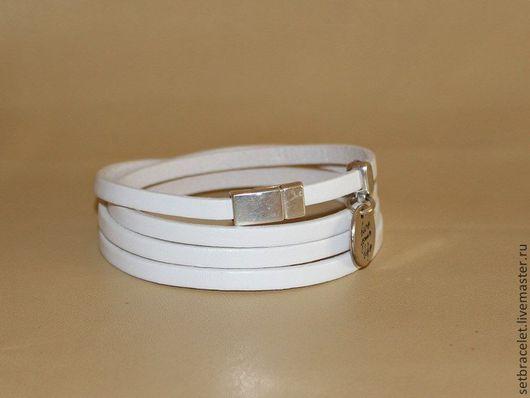 Браслеты ручной работы. Ярмарка Мастеров - ручная работа. Купить Кожаный браслет из кожи белой 5мм, намотка в 4 оборота. Handmade.