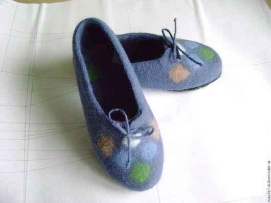 Обувь ручной работы. Ярмарка Мастеров - ручная работа. Купить Тапочки  Тепло и уютно Авторская работа. Handmade. Голубой