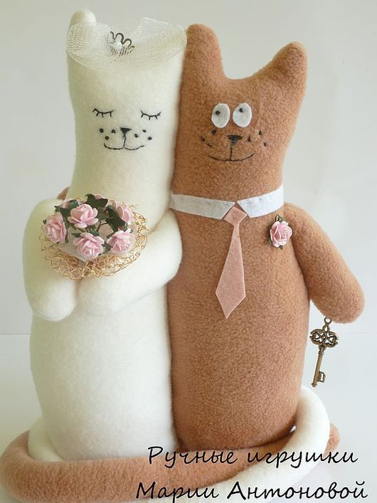 Подарки на свадьбу ручной работы. Ярмарка Мастеров - ручная работа. Купить Свадебные коты-неразлучники. Handmade. Коты, подарок молодоженам