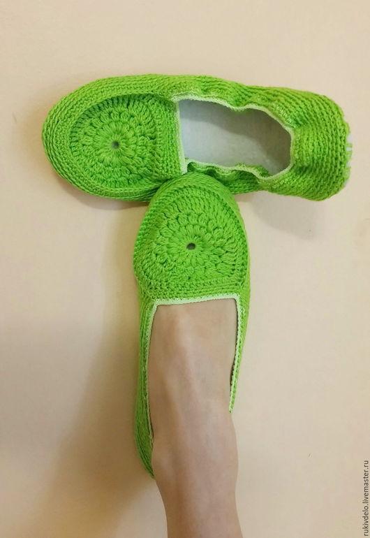 """Обувь ручной работы. Ярмарка Мастеров - ручная работа. Купить Балетки домашние """"Сочная трава"""". Handmade. Ярко-зелёный"""