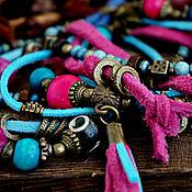 Украшения handmade. Livemaster - original item Multi-row bracelet on the hand BOHO-chic suede