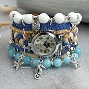 Watches handmade. Livemaster - original item Watch women`s wrist blue with stones