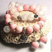 """Украшения ручной работы. Ярмарка Мастеров - ручная работа """"Розовый лимонад"""", комплект браслет и серьги. Handmade."""