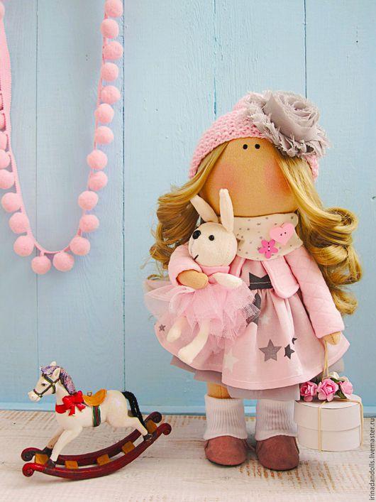 Куклы тыквоголовки ручной работы. Ярмарка Мастеров - ручная работа. Купить Розовая девочка с тортиком. Handmade. Бледно-розовый, торт
