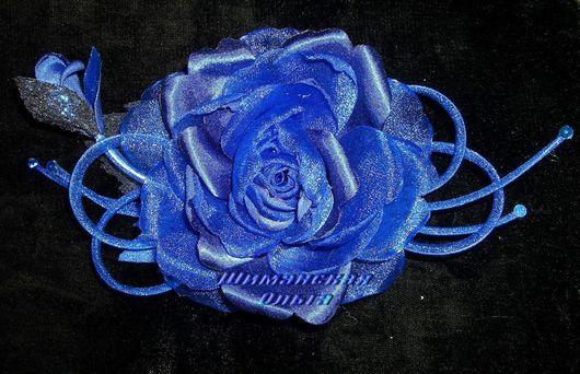 """Свадебные украшения ручной работы. Ярмарка Мастеров - ручная работа. Купить Цветы из органзы """"Роза нарядная 2"""". Handmade. синий"""