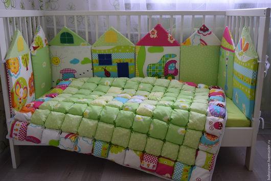 Для новорожденных, ручной работы. Ярмарка Мастеров - ручная работа. Купить бортики и одеяло бомбон. Handmade. Ярко-зелёный