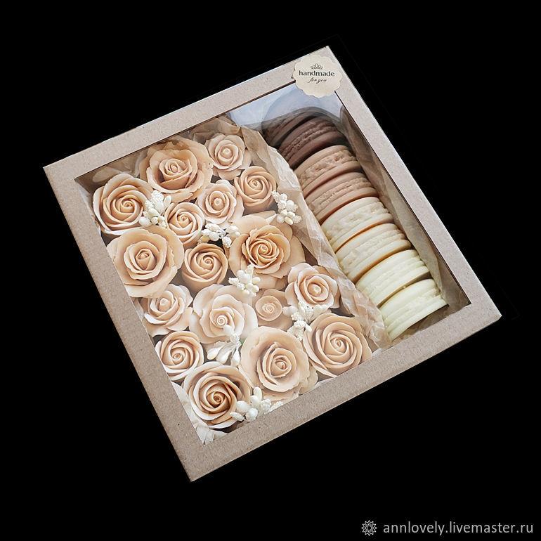 """Набор мыла """"Чайная роза"""" 17-19 роз и 8 макарун в подарочной коробке, Мыло, Москва, Фото №1"""