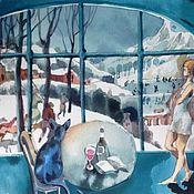 """Картины и панно ручной работы. Ярмарка Мастеров - ручная работа """"охотники на снегу"""" акварель. Handmade."""