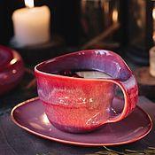 Посуда handmade. Livemaster - original item teacups: Mug 300 ml and saucer series Kiss Arwen. Handmade.