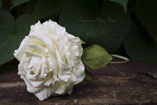 Диадемы, обручи ручной работы. Ярмарка Мастеров - ручная работа. Купить Ободок с белой розой.. Handmade. Ободок для волос