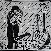 """Картины и панно ручной работы. Ярмарка Мастеров - ручная работа Вышитая картина """"Поцелуй под дождем"""". Handmade."""