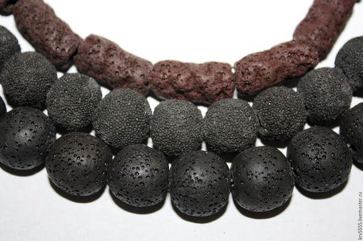 Для украшений ручной работы. Ярмарка Мастеров - ручная работа. Купить Лава вулканическаяя черная коричневая, шар, цилиндр. Handmade.