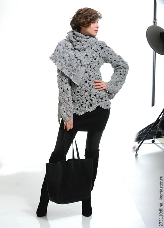 """Пиджаки, жакеты ручной работы. Ярмарка Мастеров - ручная работа. Купить Пуловер """"Ирина"""". Handmade. Серый, пуловер с косами"""