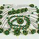 Авторские украшения,комплект из 30 предметов цвет зелёный с золотом