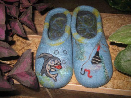 """Обувь ручной работы. Ярмарка Мастеров - ручная работа. Купить Тапочки мужские """"Рыбачьи"""". Handmade. Мужской подарок, голубой"""