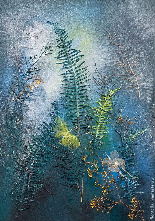 """Картины цветов ручной работы. Ярмарка Мастеров - ручная работа. Купить Флористический коллаж """"Ночные бабочки ;)"""". Handmade."""