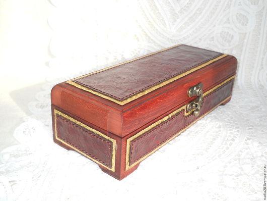 Шкатулки ручной работы. Ярмарка Мастеров - ручная работа. Купить Шкатулка из дерева, отделанная натуральной кожей. Handmade. Разноцветный, для визиток