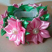 Работы для детей, handmade. Livemaster - original item Pink elastic beam on a bun. Handmade.