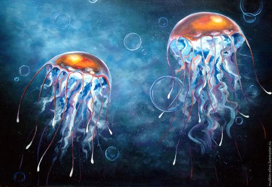 Фантазийные сюжеты ручной работы. Ярмарка Мастеров - ручная работа. Купить Медузы. Handmade. Синий, медуза, море живопись, картина