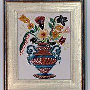 """Картины и панно ручной работы. Ярмарка Мастеров - ручная работа Панно """"Цветы в старинной вазе"""". Handmade."""