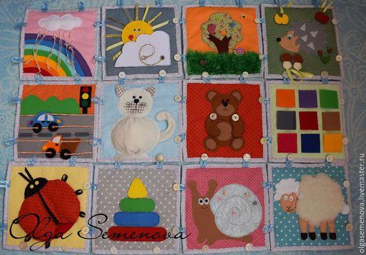 Развивающие игрушки ручной работы. Ярмарка Мастеров - ручная работа. Купить Развивающий коврик для малыша. Handmade. Комбинированный, коврик, липучка