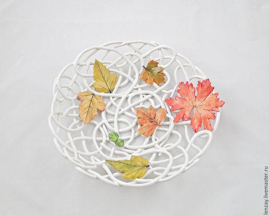 Фруктовница `Осень в парке`. Плетеная керамика и керамические цветы Елены Зайченко