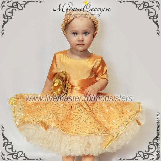 """Одежда для девочек, ручной работы. Ярмарка Мастеров - ручная работа. Купить Платье """"Лепестки золота"""" Арт. 250 (Арт.250/1). Handmade."""