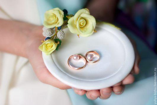 Свадебные аксессуары ручной работы. Ярмарка Мастеров - ручная работа. Купить Тарелочка для колец. Handmade. Тарелочка для колец, цветы в прическу