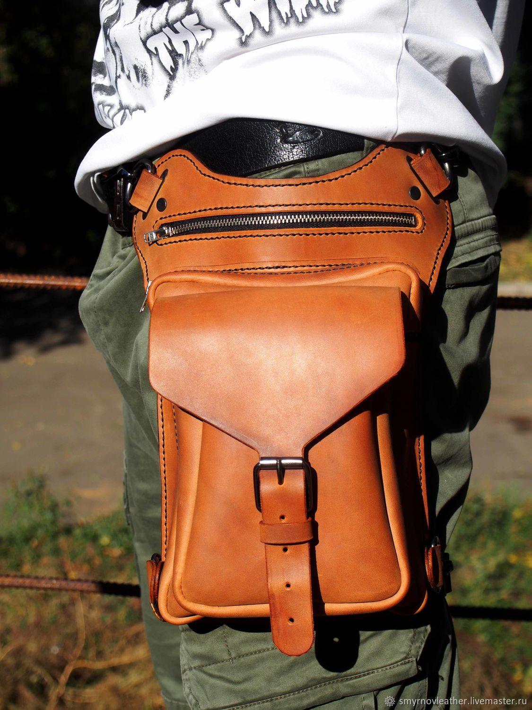 cdc4a92c0cfd Поясные сумки ручной работы. Ярмарка Мастеров - ручная работа. Купить  Кожаная поясная сумка коньяк ...
