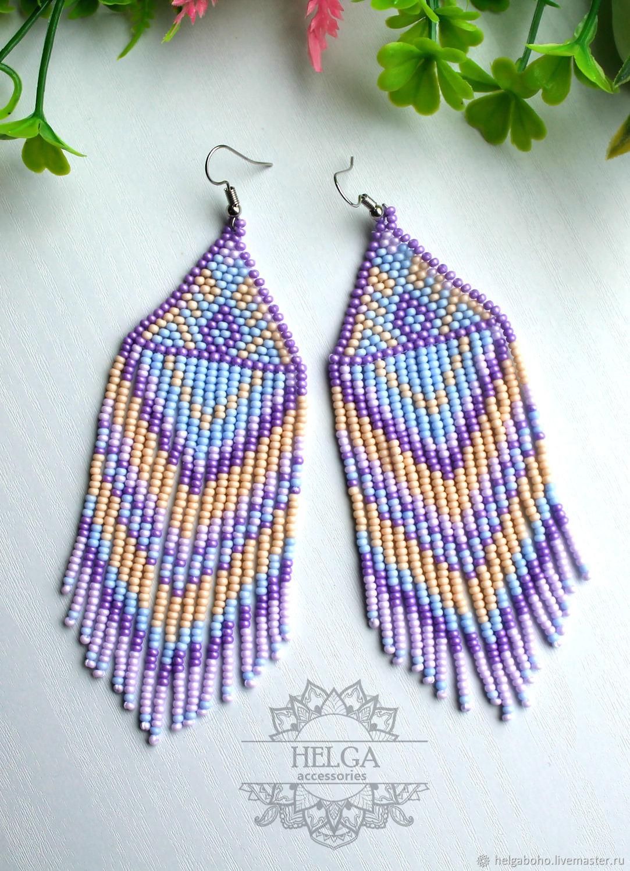 Boho earrings ' Blueberry ice cream', Tassel earrings, Samara,  Фото №1