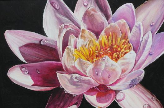 Картины цветов ручной работы. Ярмарка Мастеров - ручная работа. Купить лилия водяная. Handmade. Лотос, лилия, вода, капельки