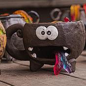 Посуда handmade. Livemaster - original item Chocolate monster - large mug with a place for cookie. Handmade.