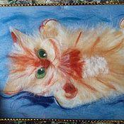 Картины и панно ручной работы. Ярмарка Мастеров - ручная работа Картина из шерсти: котенок Сашти. Handmade.
