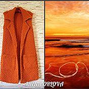 Одежда ручной работы. Ярмарка Мастеров - ручная работа Пальто вязаное без рукавов  (Сияние солнца). Handmade.