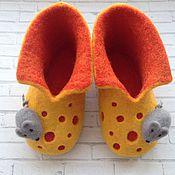 """Обувь ручной работы. Ярмарка Мастеров - ручная работа Тапочки валяные """"Сыр с мышкой"""". Handmade."""