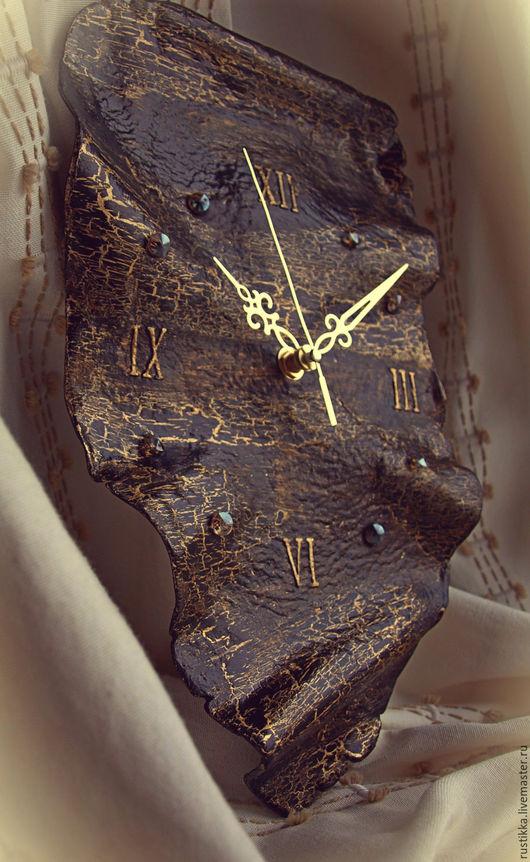 """Часы для дома ручной работы. Ярмарка Мастеров - ручная работа. Купить Часы настенные """"Черный тюльпан"""". Handmade. Черный, глина"""