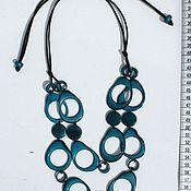 Колье ручной работы. Ярмарка Мастеров - ручная работа Ожерелье бирюзового цвета из натурального ореха тагуа из Эквадора. Handmade.