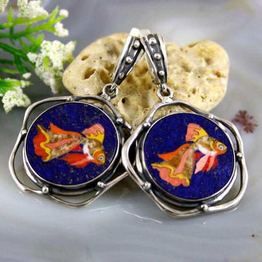 """Серьги ручной работы. Ярмарка Мастеров - ручная работа. Купить Серьги """"Золотая Рыбка"""" - флорентийская мозаика, серебро. Handmade."""