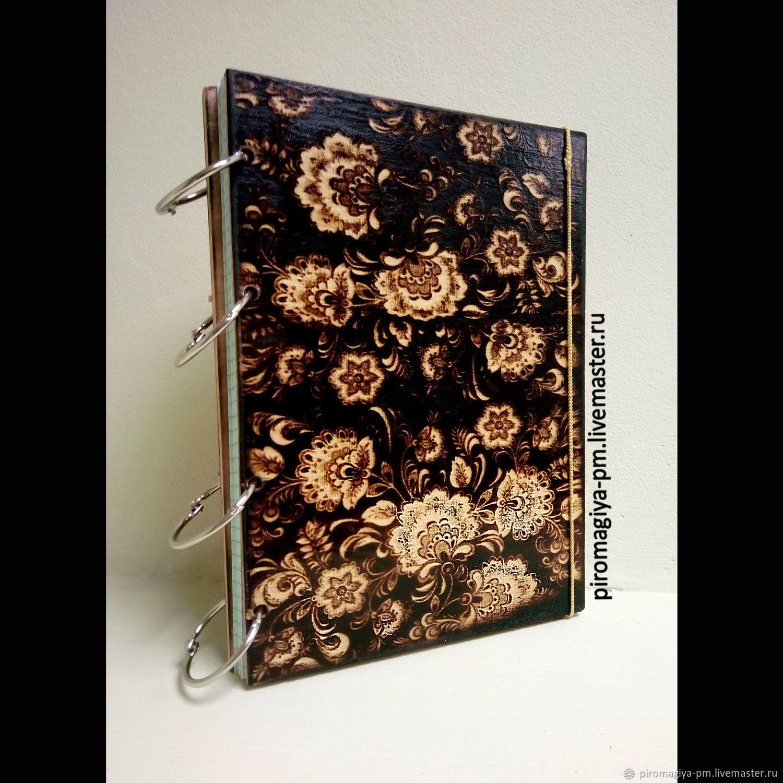 Блокнот из дерева Черная хохлома. Оригинальный бизнес-подарок, Блокноты, Балашиха,  Фото №1