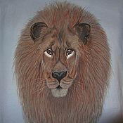 Одежда ручной работы. Ярмарка Мастеров - ручная работа Мужская футболка с изображением Льва. Handmade.